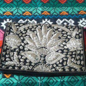 Peacock Clutch Purse Wallet Silver Black Vintage
